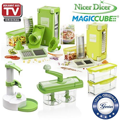 Genius Nicer Dicer Coupe-légumes Magic Cube avec Nicer Twist | 38pièces | Couper | Râper | Julienne | spirales | hobeln | Dés | de fruits et légumes | connu en TV | neuf