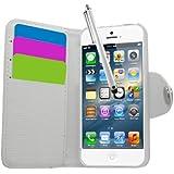 Samrick Executive Étui en cuir à rabat avec porte-cartes, film de protection pour écran, chiffon en microfibre et stylet haute performance pour Apple iPhone 5/5G/5S Blanc