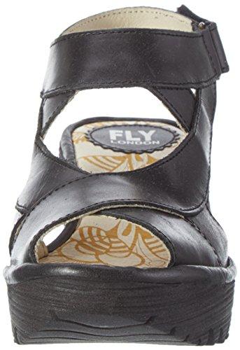 FLY London Yona737, Sandales Compensées Femme Noir (Black 000)