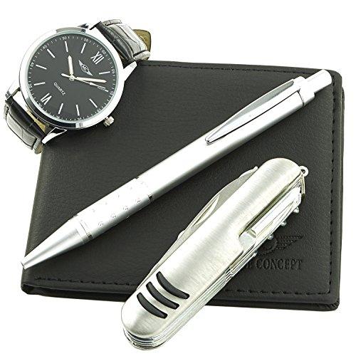 GIFT IDEAS - coffret cadeau montre Homme avec couteau multifonction , portefeuilles et stylo - Montre-Concept ref : CCP-1146-NOIR-NOIR