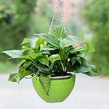 Vasi pensili, Hipsteen balcone fioriera Giardino Vasi catena di plastica Appesi Benne Hanging Planter Piante Vasi Home Decor - verde