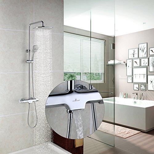 duschsystem regendusche Homelody Duschsystem mit Thermostat Regendusche Duschset mit Wasserhahn 3 Funktionen Duscharmatur Dusche Duschsäule inkl. verstellbarer Duschstange, Handbrause, Duschkopf