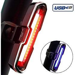 DONPEREGRINO B2 LED Luz Trasera Bicicleta Potente Roja/Azul | Luces Bici Casco Mochila de Alto Brillo para Seguridad de Ciclismo