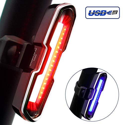 DONPEREGRINO B2 Luz Trasera Bicicleta Potente Roja/Azul Recargable USB - Luces LED de Alto Brillo para Casco Mochila Ciclismo y Precaución
