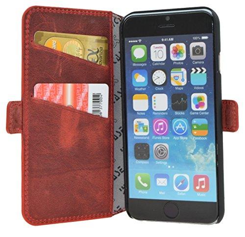 Book-Style Ledertasche Tasche für iPhone 6s Plus (5.5 Zoll)   iPhone 6 Plus (5.5 Zoll) *ECHT LEDER* mit Karteneinschub - Handytasche Case Etui Hülle (Original Suncase) in antik - braun (sand) Antik-Rot