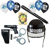 Polizei-Set für Kinder Fasching Mottoparty Polizeihelm Einsatzhelm mit Visier + Schlagstock mit Geräusch + Pistolenset + Luftballons