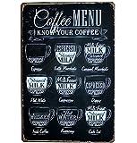 Lumanuby 1x Kaffee Speisekarte Vintage Schild Metall Werbeschild von Tafel Form mit Verschiedene Kaffeearten für Bar/Café, Bar Sprüche Serie size 20*30cm