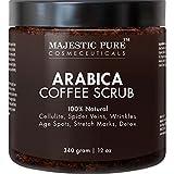 Majestic Pure Arabica Coffee Body Scrub, 12oz–100% Natural Skin Care Treatment hilft gegen Cellulite, Dehnungsstreifen, Besenreisern, Akne, Ekzemen, Altersflecken & Krampfadern, natürliche Detox