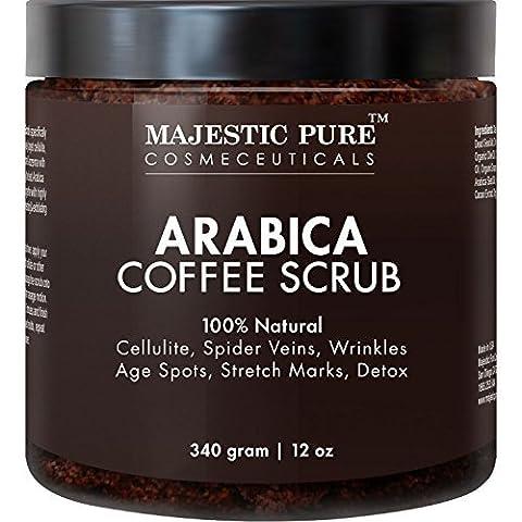 Majestic Pure Arabica Coffee Body Scrub, 12oz–100% Natural Skin Care Treatment hilft gegen Cellulite, Dehnungsstreifen, Besenreisern, Akne, Ekzemen, Altersflecken & Krampfadern, natürliche (Entfernung Von Cellulite)