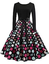 Lenfesh Vintage Rockabilly Vestido Corto con Lazo Vestidos Manga Larga Cuello Redondo Estampado de Lunares de