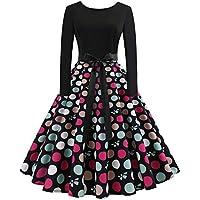 ◑‿◑ JUSTSELL 1950er 50er Kleider für Damen Herbst,Frauen Polka Dots Drucken Aline Swing Kleid Lange Ärmel Eine... preisvergleich bei billige-tabletten.eu