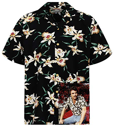 Tom Selleck Original Hawaiihemd, Kurzarm, Star Orchid, Schwarz, XL -