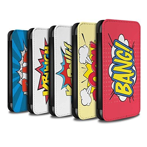 Stuff4 Coque/Etui/Housse Cuir PU Case/Cover pour Apple iPhone 7 / Krunch Design / Comics/Dessin Animé Mots Collection Pack 5pcs