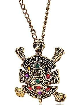 MESE London Bronze Schildkröte Halskette Flippiges Anhänger - Elegante Geschenkbox