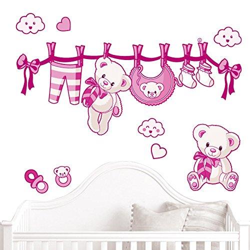 JUJU & COMPAGNIE - Kit completo Orsetto nascita composto da adesivi murali con orsetti, dimensioni: 50 x 90 cm, colore: fucsia