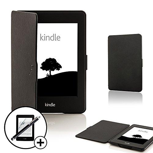 Forefront Cases Amazon Kindle Paperwhite (Nur für 2012, 2013, 2015, 2016 Modell) Smart Hülle Tasche Case Cover - Dünn Leicht Rundum-Geräteschutz Auto Schlaf Wach + Stift & Displayschutz (SCHWARZ)