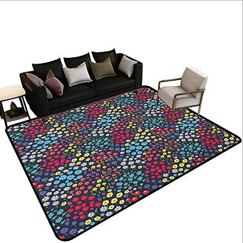 Msshe - tappeto giocattolo per bambini, decorazione da giardino, composizione floreale colorata, motivo astratto, multicolore, poliestere, colore 11, 60