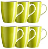 Mäser, Serie Swoon, Kaffeebecher 37,5 cl, im 6er-Set, Porzellan Teller Set in der Trendfarbe GRÜN