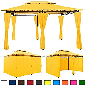 Metal gazebo with sides and air vent 3m x 4m powder coated for Gazebo 4x3 amazon