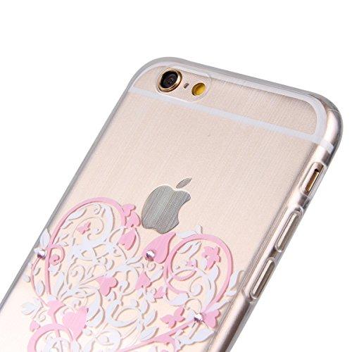 Durchsichtig Huelle für iPhone 5S, Felfy luxus Ultra Slim Bling Shiny Sparkle Diamant Dünnen Apple iPhone 5S 5 Cool Love Heart Muster Weiche Flexible Gel TPU Handy Tasche Back Case Cover Protective Zu Rosa Muster #4