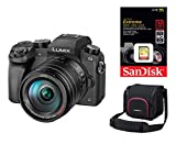 Panasonic G70 H / DMC-G70HEG-K mit Lumix G 14-140 Objektiv Digitalkamera Set + 32 GB SanDisk Speicherkarte + original Panasonic Tasche PGH-68