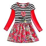 JERFER Kleinkind Baby Mädchen Langarm Dot Gürtel Blumen Party Kleid Outfits Kleidung Dunkelblau 3Y-7Y