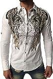Kingz Herrenhemd - Langarm Hemd - Schlangen Motiv - Snake bite - mit Strass Steinen - weiß Größe L