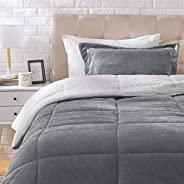 AmazonBasics Micromink Sherpa Comforter Set - Twin, Charcoal - with Pillow Cover