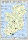 Irish Distilleries - Poster 60x42cm: Irish Whiskey Distilleries Map