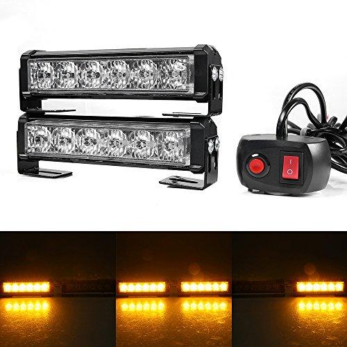 Gledto Ad Alta Intensità Faro Stroboscopica 12V - 24V 36W 12LED Giallo + Interruttore Law Enforcement LED Strobe Light Bar per Auto Camion SUV - 7 Modalità Flash