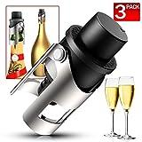Tappo per bottiglia di champagne, confezione da 3 pezzi, in acciaio inox, sigillante per bottiglie di vino e prosecco, Acciaio inossidabile, Nero