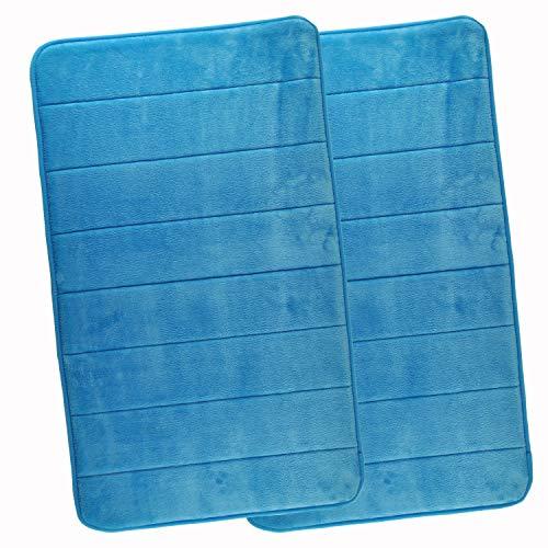 WohnDirect Duft-Badematten Set 2tlg – Rutschfester Badvorleger Waschbar & Schnelltrocknend – Microfaser Duschvorleger – Badteppich 50 x 80 cm