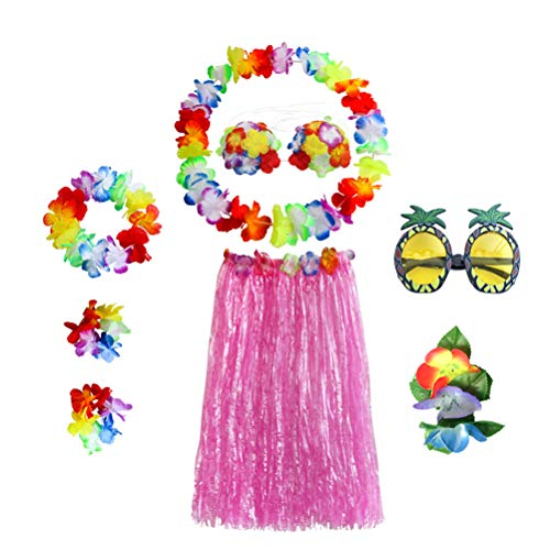 pical Hula Grass Dance Rock Ananas Sonnenbrille Blume BH Armbänder Kopf Schleife Hals Kranz Set Hawaiian Party Kostüm und Luau Outfit 60CM ()
