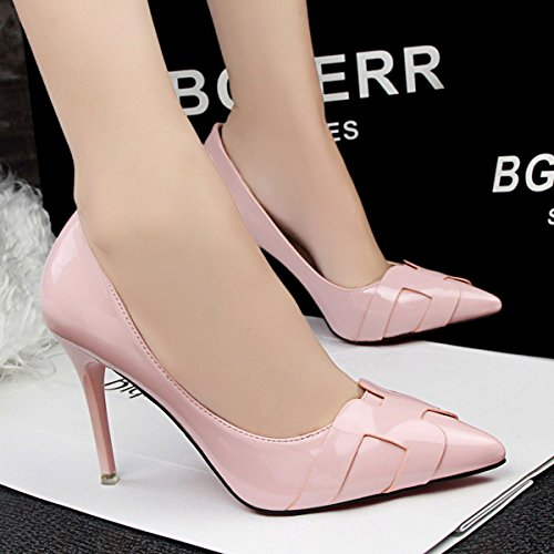 JNTworld Femmes Talons Pointu Bout Mirrored Cuir Verni Robe Pompes Rose