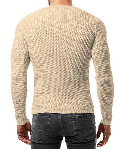 EightyFive Herren Pullover Feinstrick Slim Fit Schwarz Weiß Grau Beige EF1472 Beige