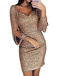 02f4b3d038773 Avanon Glänzend Partykleid Damen Abendkleider Elegante Festliches Kleid  Fransen Langarm V-Ausschnitt Sexy Cocktailkleid für Hochzeit…