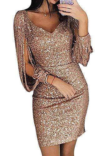 Avanon Glänzend Partykleid Damen Abendkleider Elegante Festliches Kleid Fransen Langarm V-Ausschnitt Sexy Cocktailkleid für Hochzeit Paillettenkleid (Gold, XXL) (Fransen-kleid-gold)