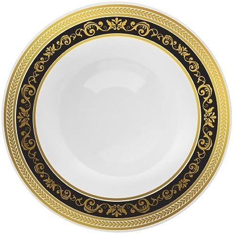 Decorline-Vajillas desechables Partido plato Platos de plástico blanco con borde negro / oro de plástico resistente vajillas desechables -Royal Collection (cuencos redondos de plástico 150ml)