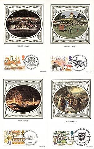 1983 British foires Benham soie cartes avec la première date de délivrance (Lot de 4 cartes postales)