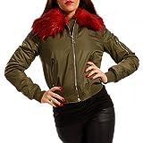 Damen Bomberjacke Gefüttert mit Kunstfellkragen Fliegerblouson Winter Jacke, Farbe:Khaki/Bordeaux;Größe:36/S