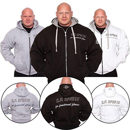 C.P.Sports Kapuzenjacke Gr.L - Farbe: Weiß / Bodybuilding Pullover - Hoodie Sweater - Kapuzenpullover