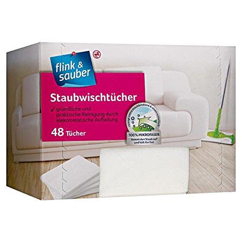 flink & sauber Staubwischtücher 1 x 48 Stück gründliche & praktische Reinigung durch elektrostatische Aufladung, 100% Mikrofaser, nimmt den Staub auf & hält ihn fest