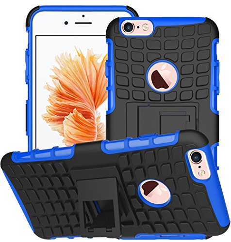 Nnopbeclik 2in1 Dual Layer Coque Iphone 6 Silicone / Coque Iphone 6S Apple [Neuf] [Armor Séries] Protectrice Fine Et Élégante Rigide Back Cover Incassable case pour Iphone 6S Coque Silicone / Iphone 6 bleu