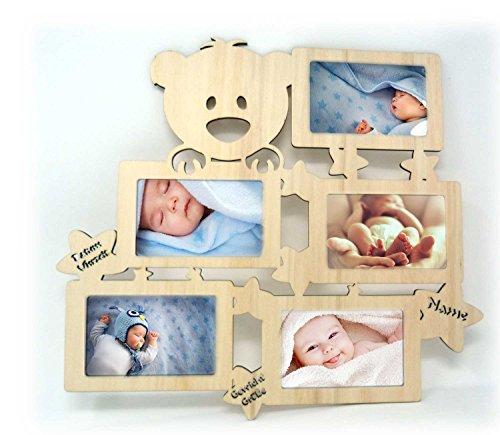 Wand Bilderrahmen Teddy Collage mit Namen und Geburtsdaten zur Geburt Geschenke für das Baby Mädchen und Junge - Bilderrahmen Wand Collage