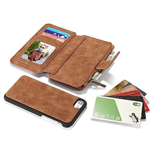 Noir Coque en Cuir pour Apple iPhone 7 Plus - Yihya Multi-function 2 in 1 Detachable Leather Housse Etui Folio Flip Wallet Stand Case Cover avec Card Slots--Black Marron