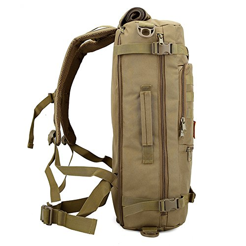 e-jiaen Rucksack 75L Hohe Kapazität Umhängetaschen/Handtasche für Speicher oder Veranstalter von Comping Wandern Reisen Mountaining Angeln Sport Zubehör braun