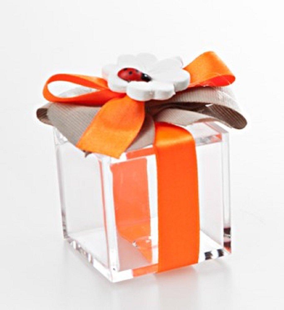 Bomboniera con confetti, con QUADRIFOGLIO e COCCINELLA Scatola Plexiglass con Fiocco Arancio con co