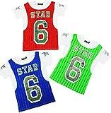 3er Pack Coole Jungen T Shirts in Trikot-Optik in den Größe 122-176 (134-140)