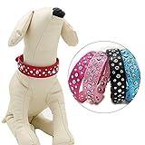 D-SYANA8 Halsband für Hunde und Katzen, verstellbare Schnalle, eingelegte Strass-Halskette, Halsband, Haustierzubehör, Rosarot XXS, blau, xs