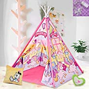 DAYON Kids Indian Tent Teepee with Padded Mat & Light String Kids Foldable Play Tent for Indoor Outdoor,Pl